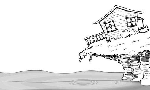Cartoon of a house leaning over a shoreline suffering erosion